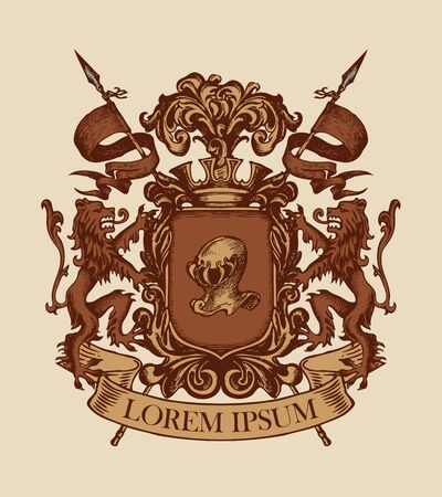 Vector heraldic Coat of arms in vintage style with shield