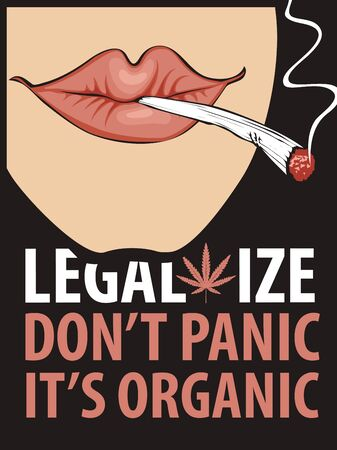 Vector banner for legalize marijuana with words Do not panic, it is organic
