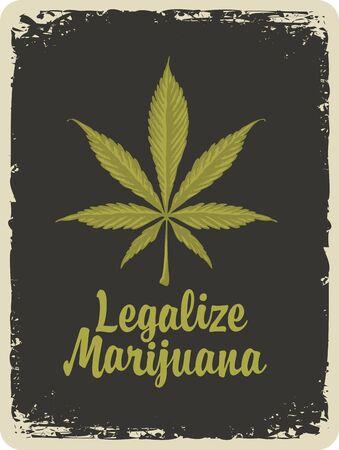 Vector banner for legalize marijuana. Illustration