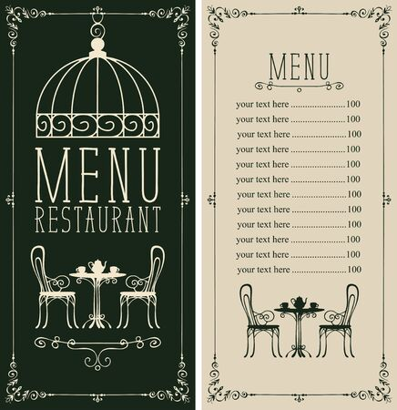Vector menu for restaurant or cafe with a price list and a table for two, chairs and tea in a figured frame with curls in retro style Ilustracja