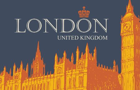 Vector postcard or banner with hand drawn Palace of Westminster and Big Ben in London, UK.  イラスト・ベクター素材