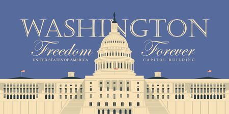 Vector banner or card with words Freedom forever and image of the US Capitol Building in Washington DC, close up in retro style.