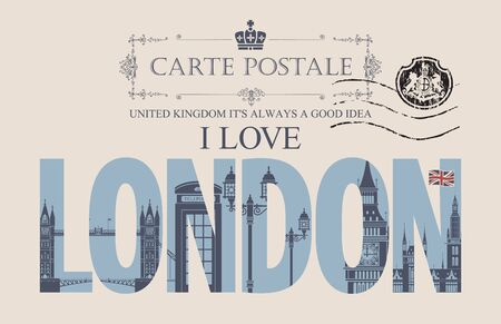 Retro postcard with words I love London and a postmark in form of coat of arms.