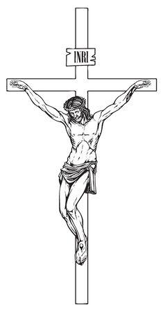 Vektor der Kreuzigung des religiösen Symbols. Jesus Christus, der Sohn Gottes mit einer Dornenkrone auf dem Kopf, ein katholisches Symbol.