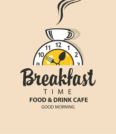Vector banner on the theme of Breakfast time with an alarm clock in the form of fried egg