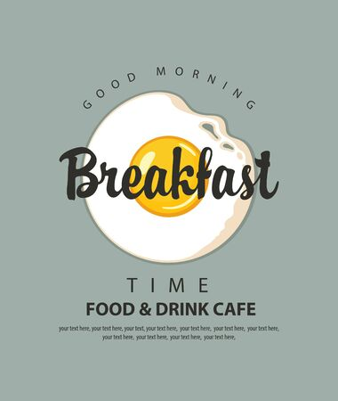 Vector menu or banner on the theme of Breakfast time with fried egg Sunny side up, inscriptions and place for text on the grey 向量圖像