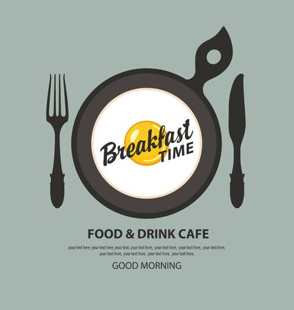Vector banner on the theme of Breakfast time with fried eggs Sunny side up, fork, knife, inscriptions and place for text on the grey