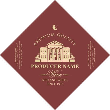 Vector diamond shaped label for red and white wine with image of an old building with statues of lions in retro style on maroon background.