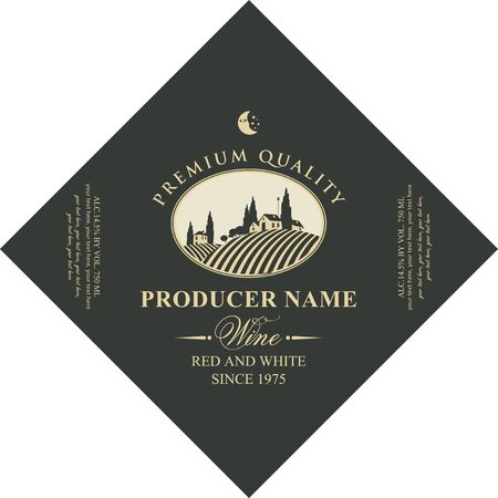 Vector diamond shaped label for red and white wine with european rural landscape of vineyards and Italian village in oval frame in retro style. Çizim