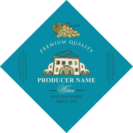 Vector diamond shaped label for red and white wine with old hand-drawn house and bunch of grapes, in retro style on blue background.