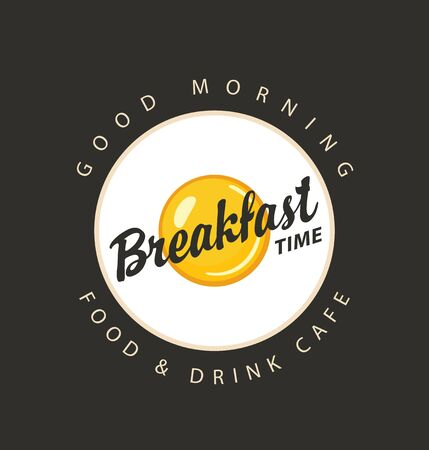 Vector menu or banner on the theme of Breakfast time, with fried egg on a circle plate with inscriptions in retro style on a black background. Stock Illustratie