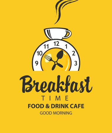Vector banner on the theme of Breakfast time with an alarm clock in the form of fried egg, clocks hands in the form of fork and spoon, and with cup of hot drink on a yellow background in retro style. Фото со стока - 131999838