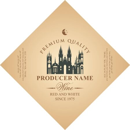Vector diamond shaped label for red and white wine with silhouette of old european town, in retro style on beige background.