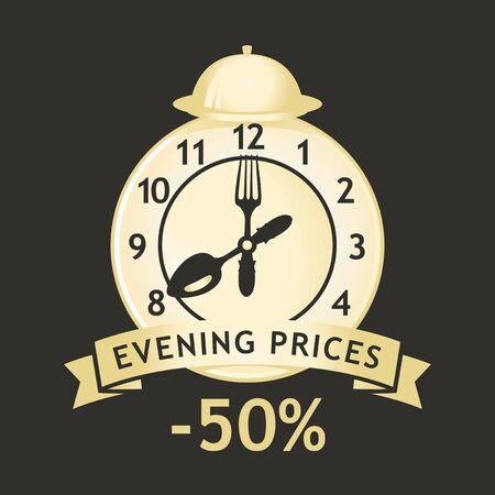 Banner vettoriale per la promozione serale con sveglia, lancette degli orologi a forma di forchetta e cucchiaio e parole Prezzi serali -50 sullo sfondo nero in stile retrò. Vettoriali