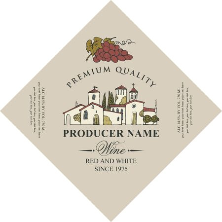 Vector diamond shaped label for red and white wine with hand-drawn landscape of the European village and bunch of grapes, in retro style on beige background.