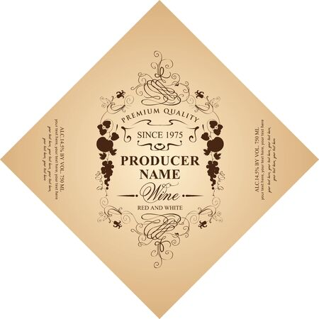 Vector diamond shaped label for red and white wine with floral and fruit ornament in Baroque style on a beige background. Foto de archivo - 132001185