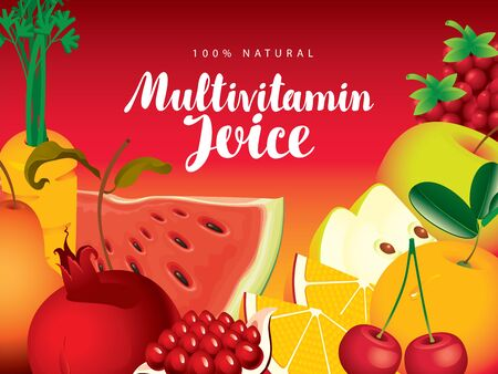 Vector banner, label or menu for Multivitamin juice with various fruits, berries, vegetables and calligraphic inscription on red background