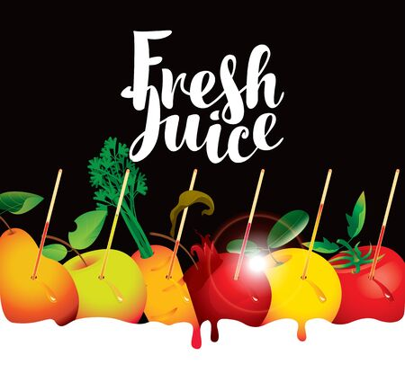 Vector banner or menu with calligraphic inscription Fresh juice with various fruits and vegetables on black background