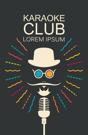 Vector music poster for karaoke club. Mans face with a mustache and wearing a hat and glasses with a microphone and an inscription in hipster style