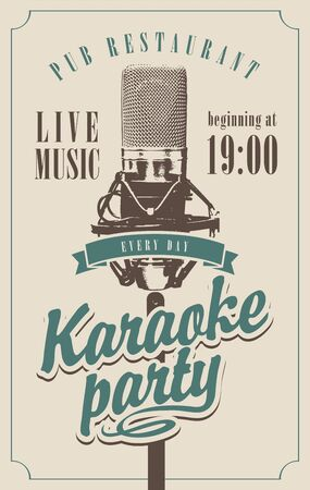 Vector music poster for karaoke party with a studio microphone and calligraphic inscription in retro style. Çizim