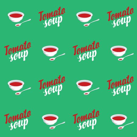 Vector seamless pattern with tomato cream soup in bowls and inscriptions on green background. Repeatable flat illustrations for healthy menus, kitchen textiles, tableware decor, food blog background. Çizim