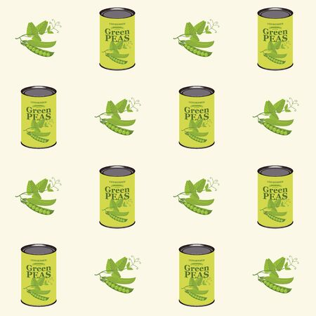 Vector seamless pattern with green peas and green pea cans in retro style on light background. Repeatable flat illustrations for canned green peas