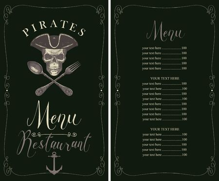 Vector menu for fresh seafood with hand-drawn human skull in pirate hat and crossed fork and spoon. Template of pirate menu with price list in frame with curls in retro style Vettoriali