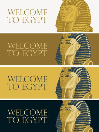 Set of vector banners with Golden mask of Egiptian pharaoh Tutankhamun. Advertising poster or flyer for travel agency with words Welcome to Egypt. Pharaoh of ancient Egypt