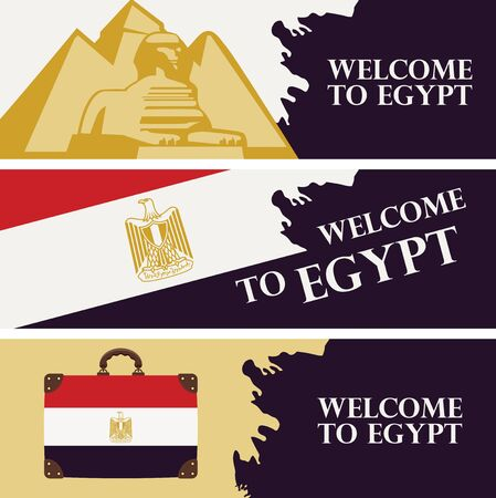 Set of vector travel banners with the pyramids, the sphinx, Egyptian flag and travel suitcase. Advertising posters or flyers for travel agency with words Welcome to Egypt.
