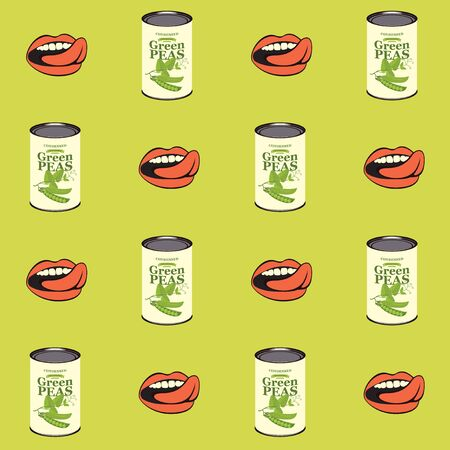 Vector seamless pattern with green peas, green pea cans and human mouths in retro style on light green background. Repeatable flat illustrations for canned green peas Ilustrace