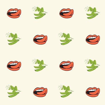 Vector seamless pattern with green peas and human mouths in retro style on light background. Repeatable flat illustrations for healthy menus, kitchen textiles, tableware decor, food blog background. 일러스트