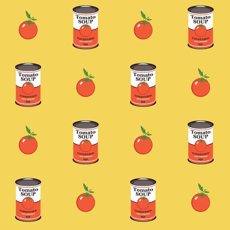 Vector seamless pattern with tomatoes and canned tomato soup cans in retro style on yellow background. Repeatable flat illustrations for condensed tomato soup