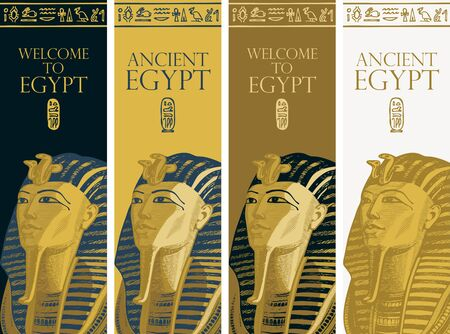 Set of vector banners with Golden mask of pharaoh Tutankhamun and Egyptian hieroglyphs. Advertising poster or flyer for travel agency with words Ancient Egypt. Pharaoh of ancient Egypt Stock Illustratie