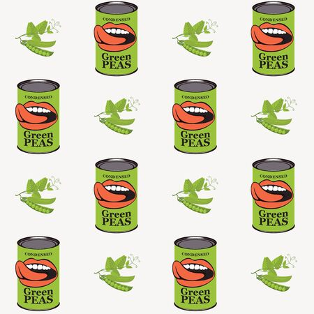 Vector seamless pattern with green peas, green pea cans and human mouths in retro style on light background. Repeatable flat illustrations for canned green peas