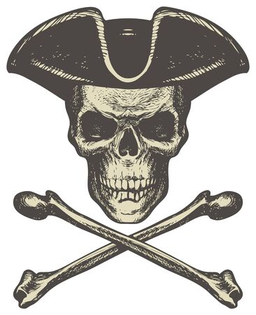 Sketch vector illustration, hand drawn human skull in cocked hat and crossbones isolated on white background. Jolly Roger. Pirate symbol or danger warning sign 向量圖像