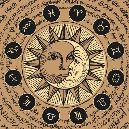 Vector circle of the Zodiac signs in retro style with icons, decorated with hand-drawn sun and crescent moon in black and beige colors. Banner with old manuscript in retro style written in a circle. Illustration