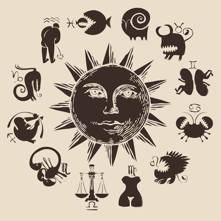 Vector circle of the funny and scary Zodiac signs in retro style with Sun. Horoscope circle with twelve symbols for astrological forecasts Illustration