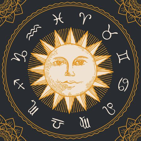 Vector circle of the Zodiac signs in retro style with hand-drawn Sun and floral patterns in the corners. Horoscope circle with twelve symbols for astrological forecasts