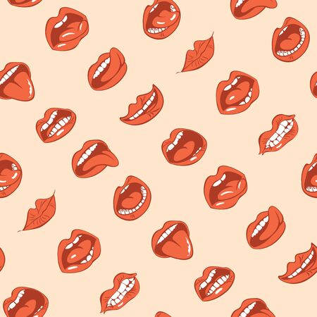 Vector seamless pattern with sexy woman lips with different emotions. Woman mouth with a kiss, smile, tongue and teeth on beige background. Red lips collection. Wallpaper, wrapping paper, fabric