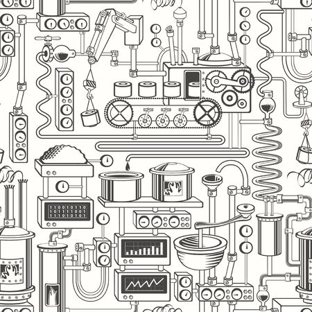 Vector seamless pattern on industrial theme with various production equipment, appliances, devices, sensors, mechanisms and pipes in retro style. Suitable for wallpaper, wrapping paper, fabric