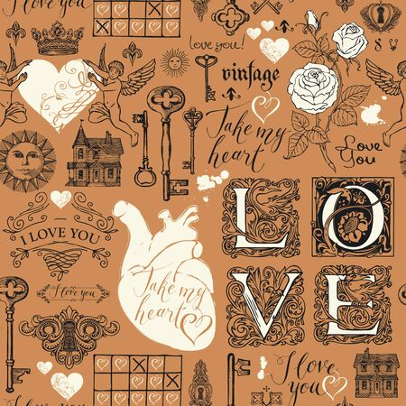 Vector seamless pattern on the theme of love and Valentine day in retro style. Abstract background with hearts, roses, keys, keyholes, cupids and handwritten inscriptions on brown backdrop.