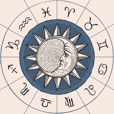 Vector circle of the Zodiac signs in retro style with hand-drawn Sun and crescent Moon. Horoscope circle with twelve symbols for astrological forecasts