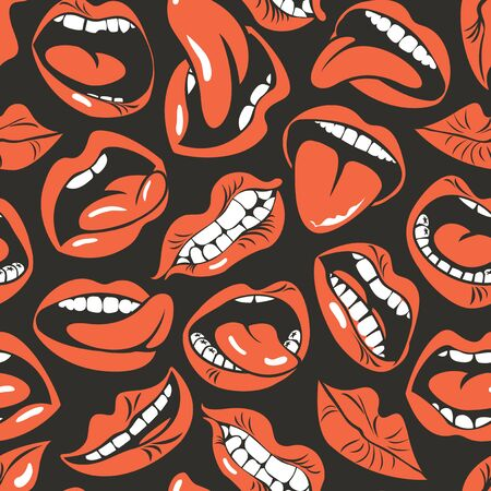 seamless pattern with sexy woman lips with different emotions.
