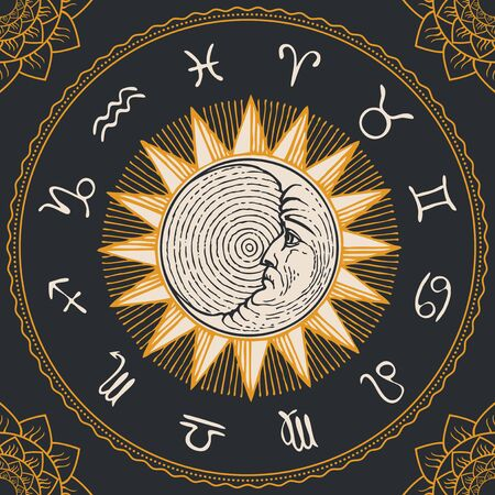 Vector circle of the Zodiac signs in retro style with hand-drawn Sun, crescent Moon and floral patterns in the corners. Horoscope circle with twelve symbols for astrological forecasts