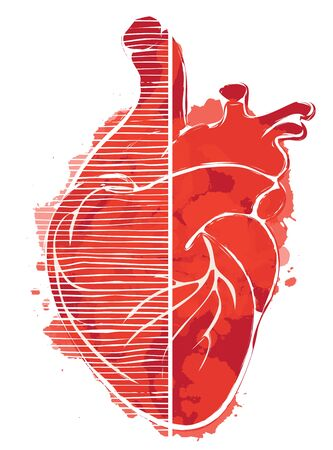 Red graphic abstract  of human heart with ink blots, drops and drips.  イラスト・ベクター素材
