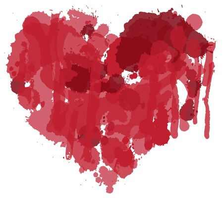 Abstract  of heart sign with red blots and drops.