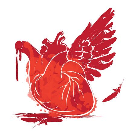 Vector graphic abstract illustration of human heart with one wing and blood on white background. Red heart with ink blots, bloody drops and drips. Graffiti, tattoo, t-shirt design template Illustration