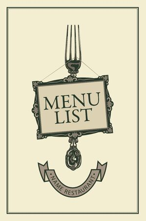 Vector template menu for restaurant with realistic fork, picture frame and ribbon in retro style on a light background 일러스트