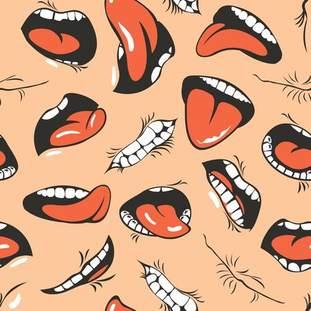 Seamless pattern with human mouths, tongue and teeth on a beige