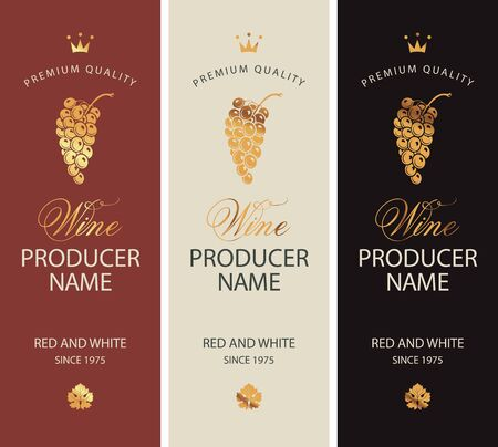 Set of two vector labels for red and white wine with golden bunches of grapes, crowns and calligraphic inscriptions in retro style